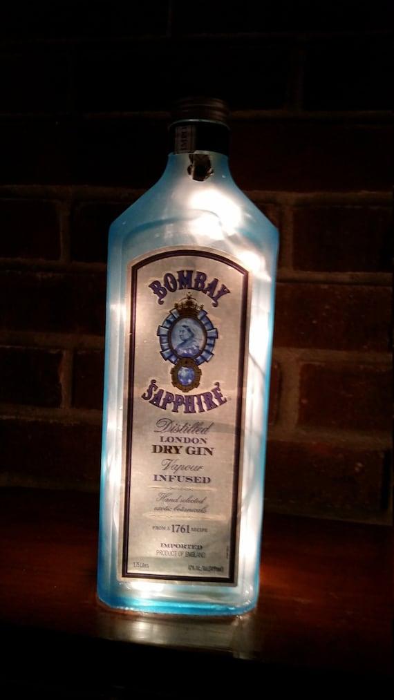 bombay sapphire gin liter lighted bottle light bar light. Black Bedroom Furniture Sets. Home Design Ideas