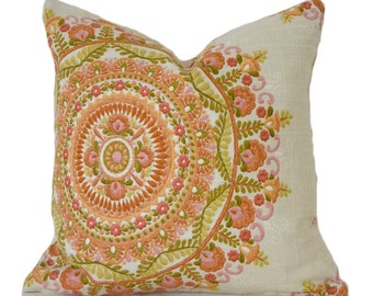 Pillow Covers ANY SIZE Decorative Pillow Cover Designer Pillows Orange Pillow Cover Needlepoint Pillow Cover Richloom Margarita Orange