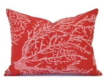 Indoor Outdoor Christmas Pillow Covers ANY SIZE Decorative Pillows Red Pillows Richloom Outdoor Sea Coral Red