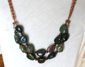Rare Double Strand Blood Agate Gemstone Nugget and Copper Chain Statement Necklace with Copper Leaf Toggle Clasp