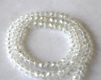 6 mm Clear/White Rondele Faceted Crystal Beads