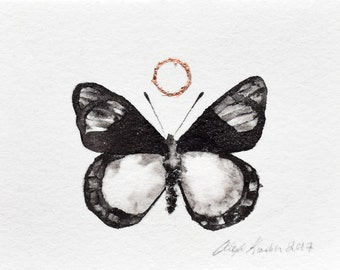 Original Painting / Small Butterfly with Copper Leaf / ACEO