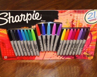 Sharpie Fine Permanent Markers 21 Count Limited Assorted Colors Sharpies Box Big Variety Set Pack Package The Original NEW Fabric Craft Lots