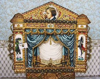 """Puppet theater """"Alice in Wonderland"""". Dolls house miniature. Paper theater. Handcrafted miniature. For doll House. 1:12 Scale.  TO ORDER."""