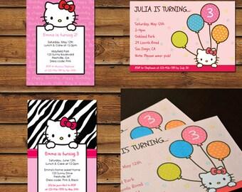 3 Hello Kitty Birthday Party Invitations - Printable Designs in PDF