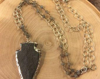 Arrowhead Silver Plated Statement Necklace