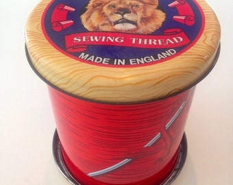 REDUCED Vintage Cotton Reel Shaped Empire Sewing Thread Tin