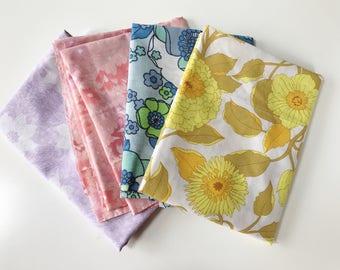 Set of 4 1960s Vintage Floral Pastel Fabric Fat Quarters
