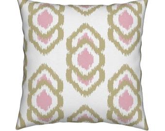 Java Gold/Pink Ikat Pillow Cover