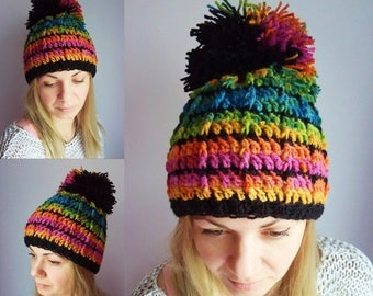 ON SALE Gift for women, gift for her Big pompom hat Rainbow hat Ski hat Women colorful hat Crochet hat Chunky knit hat Orange Green Pink Blu