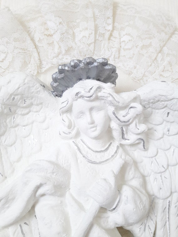 Angel wall decor wall art angel wings shabby angel white for Angel wall decoration