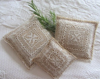 Set of three Hessian & Lace Lavender Sachets.  Maltese Lace