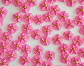 100 Hot Pink Royal Icing Flowers with Gold Pearl Center