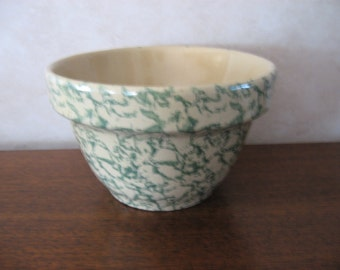 Small green and yellow spatterware bowl