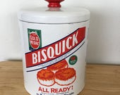Vintage Metal Bisquick Canister Bristol Ware Flour Tin with Red Knob Recipes Advertising Graphics
