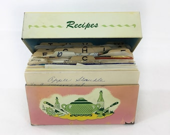 Metal Recipe Box full of Recipes Handwritten Typed Clipped Pink Yellow Green Ohio Art Graphics 3 x 5 Cards