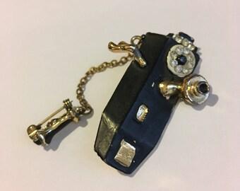 Vintage Telephone Brooch Mid Century