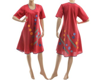 Boho linen spring summer dress in red, red linen dress with applications, red linen dress for small to medium size women S-M, US size 8-10