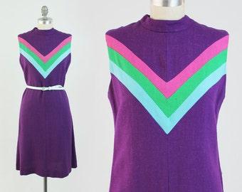 Vintage 60s MOD Colorblock Dress - Sleeveless Purple Linen Dress w/ High Neck - Chevron Stripe Day Sundress - Size Medium