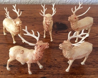 Vintage Celluloid Plastic Deer Reindeer Lot of 5 Occupied Japan