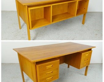 mid century modern floating oak double sided executive desk bookcase front