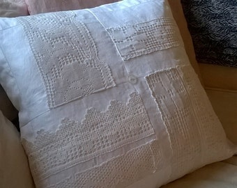 Vintage White Linen and Lace Cushion Cover