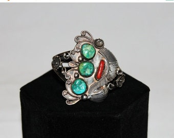 HOLIDAY SALE 25% OFF 1970s Sterling Silver Turquoise Coral Art Nouveau Cuff Bracelet