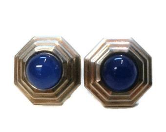 Modern Blue Sterling Silver Post Earrings
