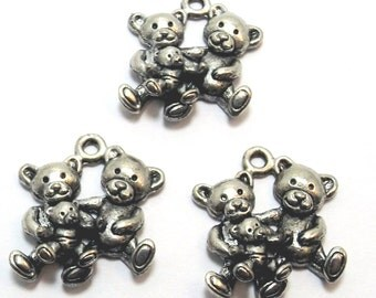 Set of Three (3) Pewter Teddy Bear Family Charms -0221