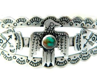 Navajo Thunderbird Eagle Cuff Bracelet 1920 Nickel Silver Railroad Fred Harvey Jewelry Native American Historical Museum Quality Heirloom
