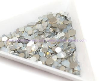 White Opal Mixed Size Rhinestones Flat back 500pcs (Semi Opaque White)