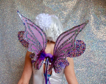 Sequin encrusted adult fairy wings - purple - fairylove
