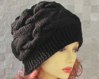 The Black Beanie, Slouchy Beanie, Women Beanie, Parisian style, Winter Hat