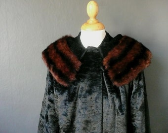 Vintage fur coat - faux fur coat - 1950s faux fur coat - 1950s faux fur swing coat with collar - furrier made faux fur coat