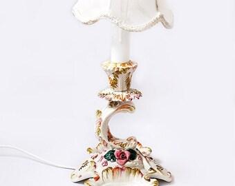 Winter Sale Antique Italian floral lamp, Bassano Ceramic Roses table lamp,Flowers Boudoir Lamp,Shabby Chic Style Bedroom Lamp