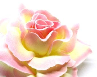 "3.75"" Milk light Pink Silk Rose Heads (Pack of 4) - Fabric - Artificial Flower, Wholesale Lot, Wedding Decoration"