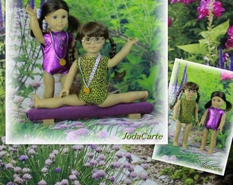 Purple Doll Leotards, Medals and Purple Balance Beam - American Girl Doll