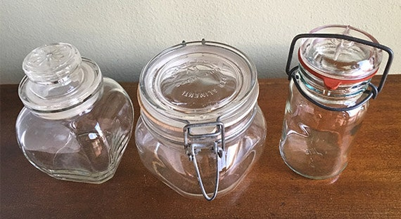 Set Of 3 Glass Storage Jars, Glass Jars With Rubber Seal And Wire Bale,  Made In Italy, Per Alimenti, Jar With Glass Stopper, Retro Kitchen