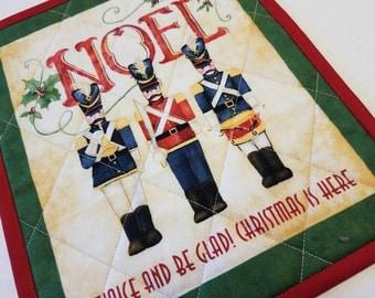 Christmas Toy Soldiers Mug Rug, Snack Mat, Fabric Coaster, Candle Mat, Trivet, Secret Santa Gift, Hostess Gift, Traditional Home Decor