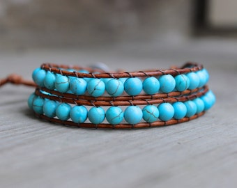 Beaded Leather Double Wrap Bracelet with Turquoise Howlite Beads on Natural Saddle Brown Genuine Leather 2 Wrap Bracelet