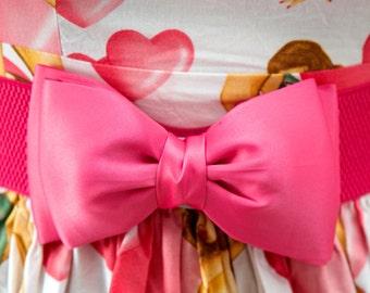 Bright Pink Bow Belt