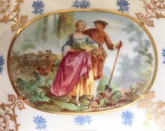 VICTORIAN Antique 19th c. Hand Painted FRENCH Porcelain Courting Couple Gold Gilt Bow Gilt Brass Trim Jewelry Casket Box FBS Made in France