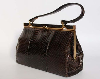 Authentic vintage 1950s handbag, Kelly bag, Made in England, real snake skin