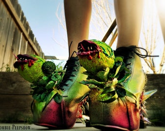 """Audrey II """"Feed Me"""" Spiked Creature Boots"""