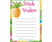 Digital Printable Words of Wisdom Advice for Baby or Bridal Shower Game with Tropical Pineapple CGWow003