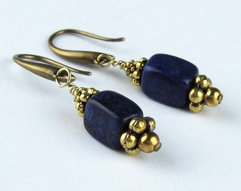 Dangle Earrings, Lapis Lazuli, Semi Precious Stones, Dark Blue, Antiqued Gold Plated Ear Wires, Brass Beads, Gemstone Earrings, Natural
