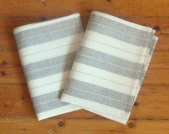 Tea Towel Set Stripes Striped Kitchen Towels Linen Towel Linen Hand Towels Linen Dish Towel Gray White Towels set of 2
