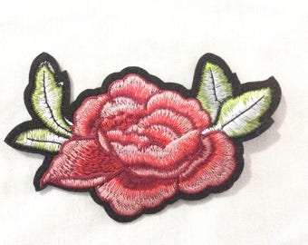 Rose Patch,  Flower Embroidered Patch Appliqué, Iron On Patch, Flower Patch USA Seller