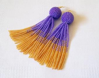 Violet and Gold beaded tassel earrings - Luxury Fringe Statement Earrings - long beadwork tassle earrings - Dangle purple earrings