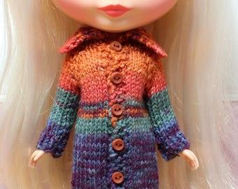 BLYTHE doll hand knit long sweater coat - orange purple